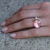 Pink Tourmaline Asymmetrical Silver and Gold Faceted Ring