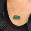 Carved Emerald Gold Necklace