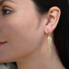 Gold Bird of Paradise Feather Earrings