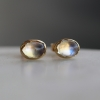 Rainbow Moonstone 18k Egg Post Stud Earrings