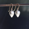 Silver Plain Rose Bud Drop Earrings