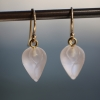 Frosted Glass Rose Bud Drop Earrings