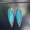 Turquoise 18k Long Simple Earrings