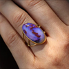 Opalized Wood Branch Gold Ring