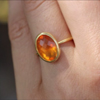 Oval Fire Opal Gold Ring