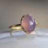 Lavender Chalcedony 18k Gold Egg Ring