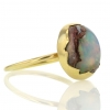 Mexican Matrix Opal Egg 18k Gold Ring