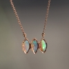 Triple Boulder Opal Marquise Rose Gold Necklace