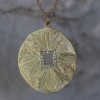 18k Gold Mandala Hera Engraved Diamond Necklace
