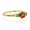 Rivera Flower Fire Opal Emerald Diamond 18k Gold Ring