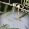 Aquamarine Waterfall 18k Gold Earrings