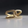 Double Love Knot Yellow Gold Mixed Diamond Ring