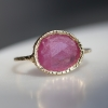 Pink Sapphire All Gold Lace Ring