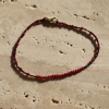 Ruby and Gold Bead Wine Cord Bracelet