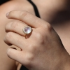 All Gold Round Rainbow Moonstone Gold Laced Frame Ring
