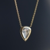 Pear Shaped White Diamond Gold Necklace