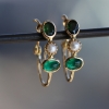 Emerald, Tourmaline and Pearl Hoop Earrings