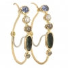 Sapphire, Pearl and Tourmaline Hoop Earrings