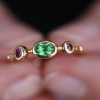 Garnet Tsavorite and Spinel Simple Band Ring
