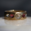 Gold Mixed Diamond and Pink Sapphire Band Ring