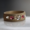 Sandblasted Gold Diamond and Pink Sapphire Ring