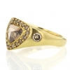 Trillion Champagne Diamond with Diamond Halo Gold Ring