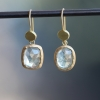 Pale Grey and Green Sapphire Mismatched Hanging Earrings