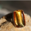 Large Vertical Rectangular Inverted Citrine Ring