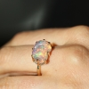 Unique Mexican Fire Opal All Gold Prong Ring
