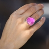 Large Pink Tourmaline Gold and Silver Ring
