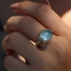 Small Oval Aquamarine 14k Gold and Silver Ring