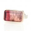 Rectangular Bi Color Pink Tourmaline Ring