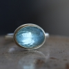 Small Inverted Aquamarine Silver and Gold Ring
