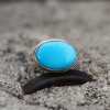 Oval Sleeping Beauty Turquoise Silver and Gold Ring
