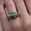 Oval Turquoise Silver and Gold Ring