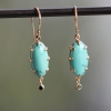 Turquoise Earrings with Black Diamond Dangles