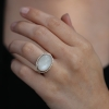 Oval White Moonstone Silver and 14k Rose Gold Ring
