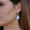 White Rainbow Moonstone Large Teardrop Earrings