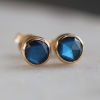 Small Round Labradorite Post Earrings
