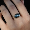 Rose Cut Oval London Blue Topaz Ring