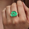 All Gold Ruffled Platform Emerald Slice Ring