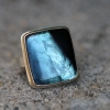 Rectangular Blue Green Tourmaline Slice Ring