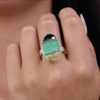 Vertical Oval Blue Indonesian Fossilized and Opalized Ring