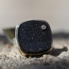 Square Brazilian Black Drusy with Diamond Ring
