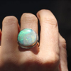 All Gold Round Boulder Opal Ring
