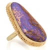 Large All 14k Gold Boulder Opal Ruffled Edge Ring