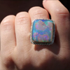 Vertical Rectangular Opalized Wood Silver and Gold Lava Edge Rin