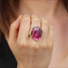 XL Faceted Pink Tourmaline Silver and Gold Ring