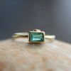 Gold Emerald Ring with Diamond