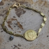 Gold Coin Bracelet with Diamond Bead Dangle